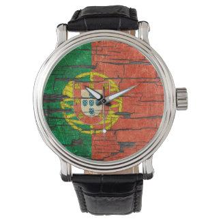 Cracked Portuguese Flag Peeling Paint Effect Wristwatch