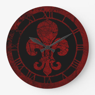 Cracked red Fleur De Lis Large Clock