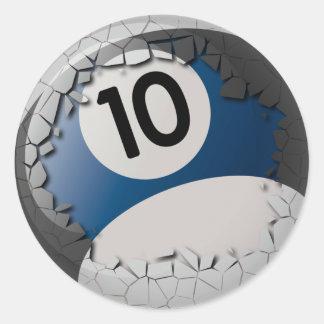 Cracked Shell Break Out Billiards 10 Ball Round Sticker
