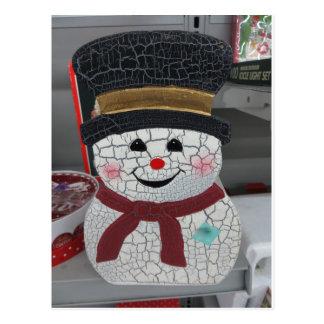 Cracked Snowman Postcard