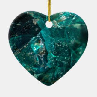 Cracked Teal Sugar Ceramic Heart Ornament