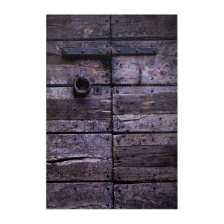 Cracked wooden door acrylic print