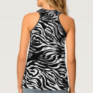 Cracked Zebra Pattern, Black White, Tank Top