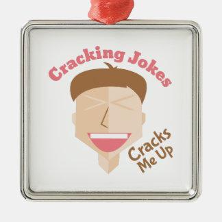 Cracking Jokes Silver-Colored Square Ornament