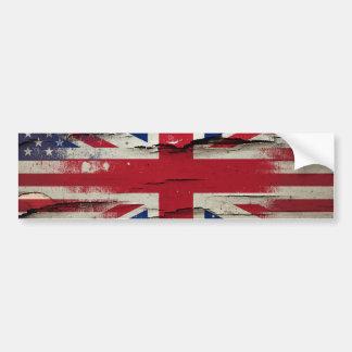 Crackle Paint | British American Flag Bumper Sticker