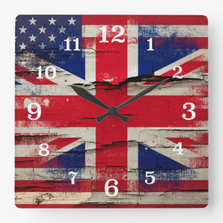Crackle Paint   British American Flag Square Wall Clock
