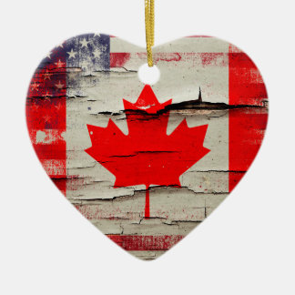Crackle Paint | Canadian American Flag Ceramic Ornament