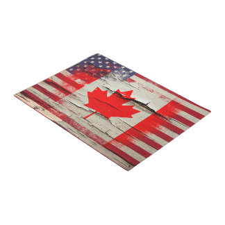 Crackle Paint | Canadian American Flag Doormat
