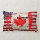 Crackle Paint | Canadian American Flag Lumbar Pillow