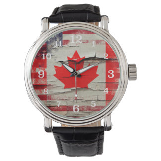 Crackle Paint | Canadian American Flag Wrist Watch