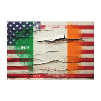Crackle Paint | Irish American Flag Canvas Print