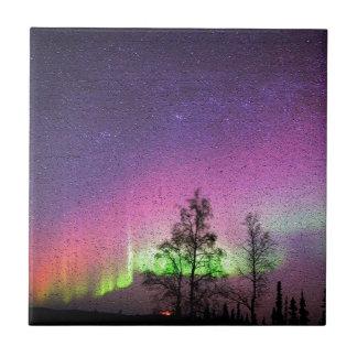 Crackle Texture Art Northern Lights Sky Alaska Ceramic Tiles