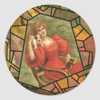 Crackle Tile - Lady in Red Classic Round Sticker