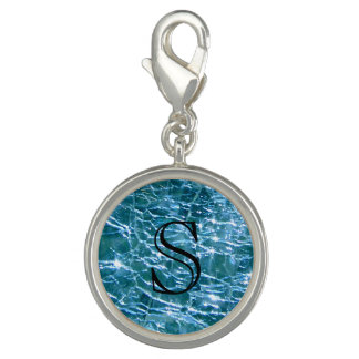Crackled Glass Birthstone December Blue Topaz Photo Charm