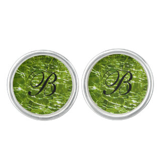 Crackled Glass Birthstone Design - August Peridot Cuff Links