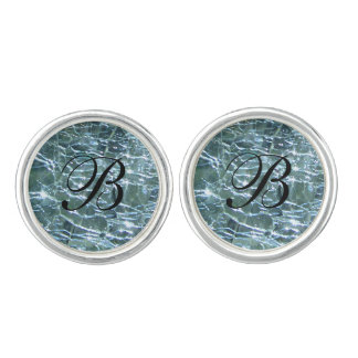 Crackled Glass Birthstone Design March Aquamarine Cuff Links