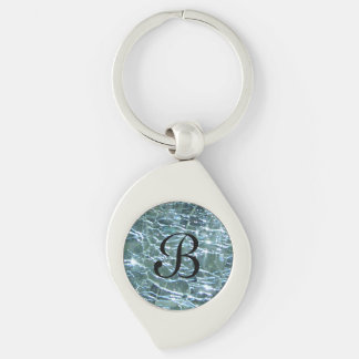 Crackled Glass Birthstone Design March Aquamarine Keychain