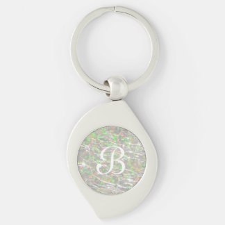 Crackled Glass Birthstone Design - October Opal Keychain