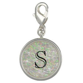 Crackled Glass Birthstone Design - October Opal Photo Charm