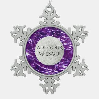 Crackled Glass Birthstone February Purple Amethyst Pewter Snowflake Ornament