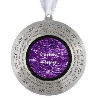 Crackled Glass Birthstone February Purple Amethyst Round Pewter Ornament