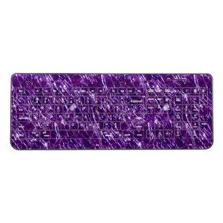 Crackled Glass Birthstone February Purple Amethyst Wireless Keyboard