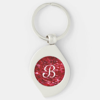 Crackled Glass Birthstone July Ruby Red Silver-Colored Swirl Keychain