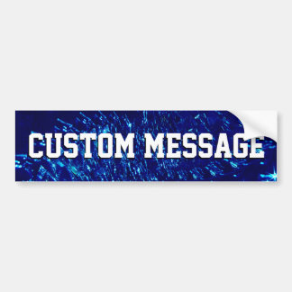Crackled Glass Swirl Design - Blue Sapphire Bumper Sticker