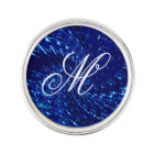 Crackled Glass Swirl Design - Blue Sapphire Lapel Pin