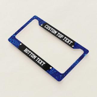 Crackled Glass Swirl Design - Blue Sapphire Licence Plate Frame
