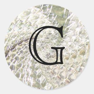 Crackled Glass Swirl Design - Diamond Classic Round Sticker