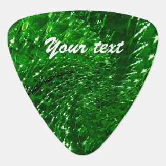 Crackled Glass Swirl Design - Green Emerald Guitar Pick
