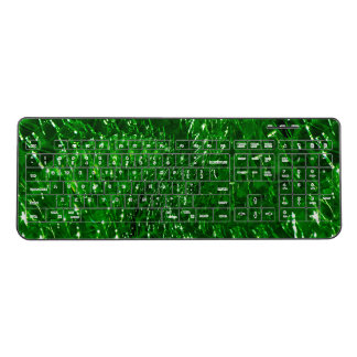 Crackled Glass Swirl Design - Green Emerald Wireless Keyboard