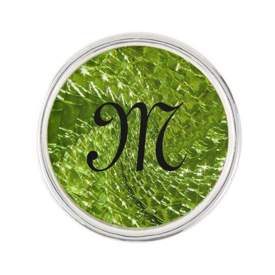 Crackled Glass Swirl Design - Green Peridot Lapel Pin