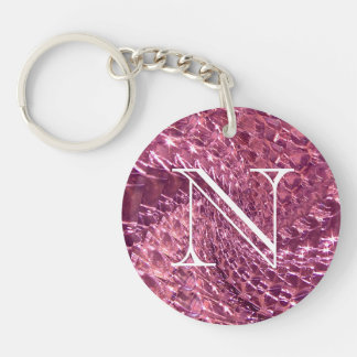 Crackled Glass Swirl Design - Pink Tourmaline Keychain