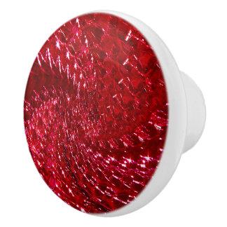 Crackled Glass Swirl Design - Ruby Red Ceramic Knob