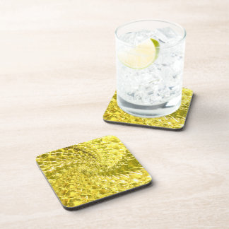Crackled Glass Swirl Design - Yellow Citrine Coaster