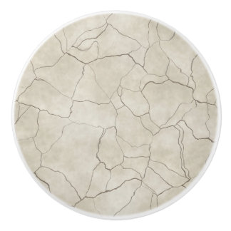 Cracks on Beige Textured Background Ceramic Knob