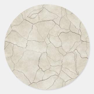 Cracks on Beige Textured Background Classic Round Sticker