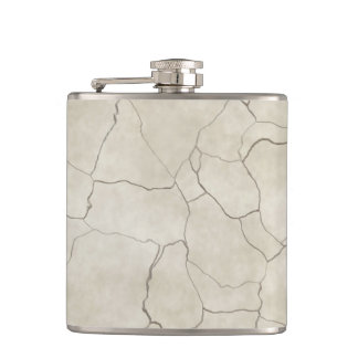 Cracks on Beige Textured Background Hip Flask