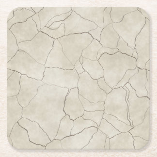 Cracks on Beige Textured Background Square Paper Coaster