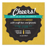 "Craft Beer Birthday Invite 5.25"" Square Invitation Card"