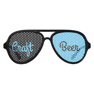 Craft Beer - Black & Sky Blue Aviator Sunglasses