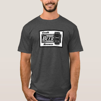 Craft Beer Brewer - Black & White Can Stars T-Shirt