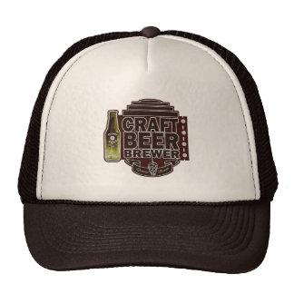 Craft Beer Brewer - Brown Wood-Grain Look Logo Trucker Hat