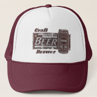 Craft Beer Brewer - Burgundy & White Can Worn Look Trucker Hat