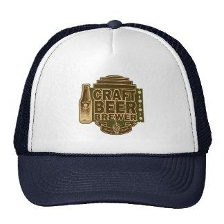 Craft Beer Brewer - Green Wood-Grain Look Logo Trucker Hat
