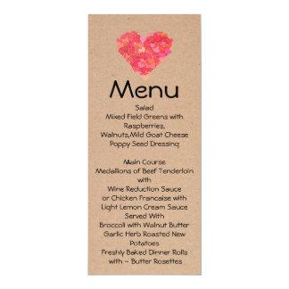 Craft Hearts Skinny Wedding Table Menu Card
