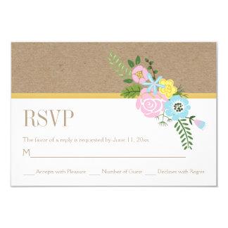 Craft paper and pink, aqua flowers wedding RSVP Card