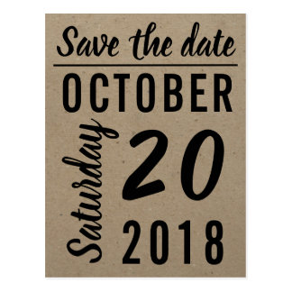 Craft Paper Save the Date Postcard